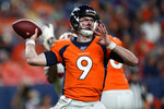FILE - In this Aug. 19, 2019, file photo, Denver Broncos quarterback Kevin Hogan (9) throws against the San Francisco 49ers during the second half of an NFL preseason football game, in Denver. The conventional thought was Kevin Hogan would be the Denver Broncos backup at quarterback. For now, anyway. Just until rookie Drew Lock got up to speed. But Lock is making a strong run at being No. 2 behind Joe Flacco. (AP Photo/Jack Dempsey, File)