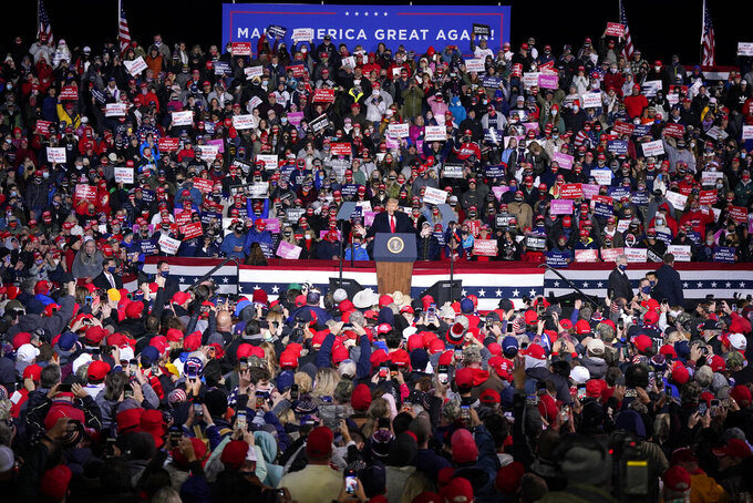 President Donald Trump speaks during a campaign rally at Erie International Airport tom Ridge Field in Erie, Pa, Tuesday, Oct. 20, 2020. (AP Photo/Gene J. Puskar)