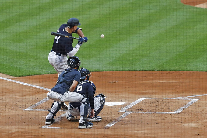 New York Yankees' Aaron Judge takes a pitch during an intrasquad baseball game Monday, July 6, 2020, at Yankee Stadium in New York. (AP Photo/Kathy Willens)