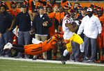 Southern California's Amon-Ra St. Brown (8) pulls away from Oregon State's Jalen Moore, left, after making a reception in the first half of an NCAA college football game in Corvallis, Ore., Saturday, Nov. 3, 2018. (AP Photo/Timothy J. Gonzalez)