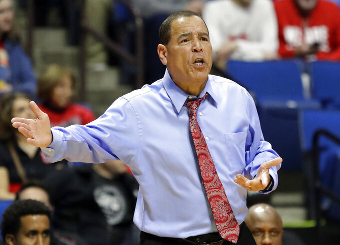 Houston head coach Kelvin Sampson is seen on the sidelines during the first half of a first round men's college basketball game against Georgia State in the NCAA Tournament Friday, March 22, 2019, in Tulsa, Okla. (AP Photo/Jeff Roberson)
