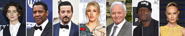 This combination photo of celebrities with birthdays from Dec. 27 - Jan 2 shows Timothee Chalamet, from left, Denzel Washington, Diego Luna, Ellie Goulding, Anthony Hopkins, Grandmaster Flash and Kate Bosworth. (AP Photo)