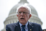 Democratic presidential candidate, Sen. Bernie Sanders, I-Vt., speaks at the Capitol to introduce the Inclusive Prosperity Act, which would impose a tax on Wall Street speculation in Washington, Wednesday, May 22, 2019. (AP Photo/J. Scott Applewhite)