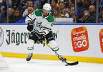 Dallas Stars forward Alexander Radulov (47) controls the puck during the second period of an NHL hockey game against the Buffalo Sabres, Monday, Oct. 14, 2019, in Buffalo N.Y. (AP Photo/Jeffrey T. Barnes)