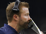 Los Angeles Rams head coach Sean McVay calls a play during the first half of the NFL football NFC championship game against the New Orleans Saints, Sunday, Jan. 20, 2019, in New Orleans. (AP Photo/Carolyn Kaster)