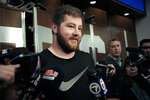 New England Patriots offensive guard Joe Thuney faces reporters in the team's locker room at Gillette Stadium, Monday, Sept. 9, 2019, in Foxborough, Mass. (AP Photo/Steven Senne)