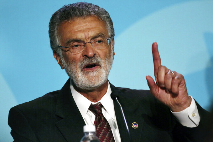 FILE - This Aug. 25, 2017 file photo shows Cleveland mayor Frank Jackson during the 2017 Cleveland Mayoral Primary Debate in Cleveland. Police found the body of 24-year-old Frank Q. Jackson, the grandson of the mayor, near a public-housing project in the city on Sunday night. News reports say the mayor visited the shooting scene. (Gus Chan/The Plain Dealer via AP, File)