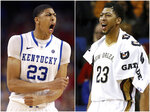 This combination of photos shows Kentucky forward Anthony Davis, left, on March 31, 2012 and as a New Orleans Pelicans player on Jan. 23, 2016, in New Orleans. Davis was the first pick in the NBA draft after leading the Wildcats to the national title in 2012. An Associated Press analysis of rosters of perennial NCAA Tournament teams concludes it takes NBA-caliber talent for teams to go far consistently. (AP Photos)