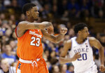 Syracuse's Frank Howard (23) reacts following a basket against Duke during the second half of an NCAA college basketball game in Durham, N.C., Monday, Jan. 14, 2019. Syracuse won 95-91. (AP Photo/Gerry Broome)