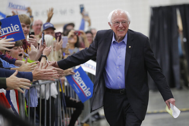 Democratic presidential candidate, Sen. Bernie Sanders, I-Vt., greets people at a campaign event in Myrtle Beach, S.C., Wednesday, Feb. 26, 2020. (AP Photo/Gerald Herbert)