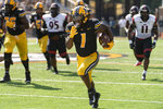 Missouri running back Tyler Badie runs for a 49-yard touchdown during the first quarter of an NCAA college football game against Southeast Missouri State Saturday, Sept. 18, 2021, in Columbia, Mo. (AP Photo/L.G. Patterson)