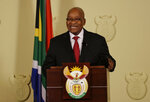 South African President Jacob Zuma addresses the nation and the media at the government's Union Buildings in Pretoria, South Africa, Wednesday, Feb. 14, 2018.  The ruling African National Congress has told Zuma to resign by the end of Wednesday after rejecting his request to stay in office for several more months. (AP Photo/Themba Hadebe)