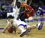 Kansas State guard Mike McGuirl (00) steals the ball from Iowa State guard Marial Shayok (3) during the first half of an NCAA college basketball game in Manhattan, Kan., Saturday, Feb. 16, 2019. (AP Photo/Orlin Wagner)