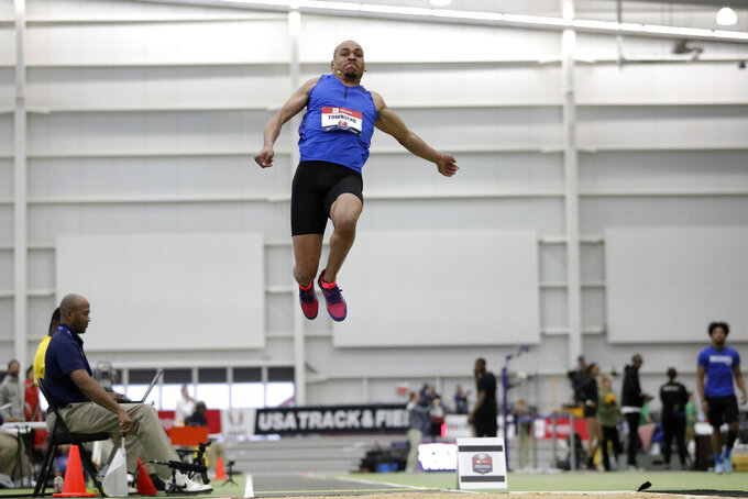 FILE - In this Saturday, Feb. 23, 2019 file photo, Roderick Townsend performs in the men's long jump final at the USA Track & Field Indoor Championships, in New York. NBC will air coverage of the Paralympics for the first time in primetime later this summer when the Summer Paralympic Games take place in Tokyo. NBCUniversal announced on Wednesday, Feb. 24, 2021 that 1,200 hours of programming will air across NBC's linear and digital channels. (AP Photo/Julio Cortez, File)