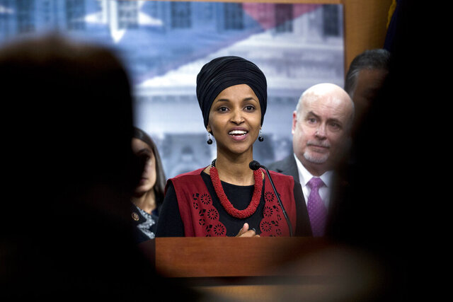 FILE - In this Wednesday, Jan. 8, 2020, file photo, Congressional Progressive Caucus member Rep. Ilhan Omar, D-Minn., and others in the Caucus, speaks during a news conference on Capitol Hill in Washington, about the targeted killing of Iran's senior military commander Gen. Qassem Soleimani. Omar is kicking off her reelection campaign Thursday Jan 23, 2020, with a massive bank account and no challengers who pose a serious threat from either party. (AP Photo/Jose Luis Magana, File)