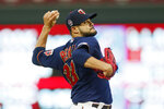 Minnesota Twins pitcher Martin Perez throws to a Washington Nationals batter the first inning of a baseball game Wednesday, Sept. 11, 2019, in Minneapolis. (AP Photo/Jim Mone)