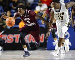 Texas Southern guard Demontrae Jefferson (3) and Arkansas-Pine Bluff guard Joe'Randle Toliver (13) chase the ball during the second half of an NCAA college basketball game in the championship of the Southwestern Athletic Conference, Saturday, March 10, 2018, in Houston. (AP Photo/Eric Christian Smith)