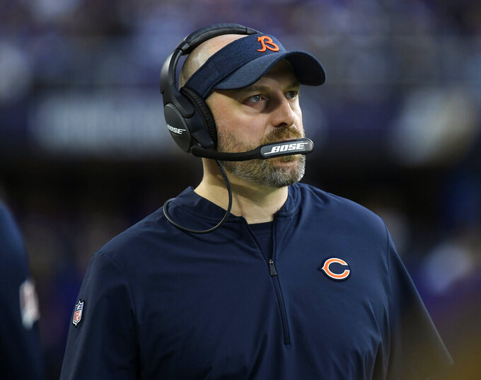 FILE - In this Dec. 29, 2019, file photo, Chicago Bears head coach Matt Nagy watches from the sideline during the first half of an NFL football game against the Minnesota Vikings in Minneapolis. The Bears failed to follow up successfully on Nagy's debut season in which he led the franchise to 12 wins and the NFC North title. (AP Photo/Craig Lassig, File)