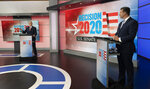 U.S. Sen. Thom Tillis, R-N.C., left, and Democratic challenger Cal Cunningham participate in a televised debate, Monday, Sept. 14, 2020, at the WRAL-TV studios in Raleigh, N.C. (WRAL-TV via AP)