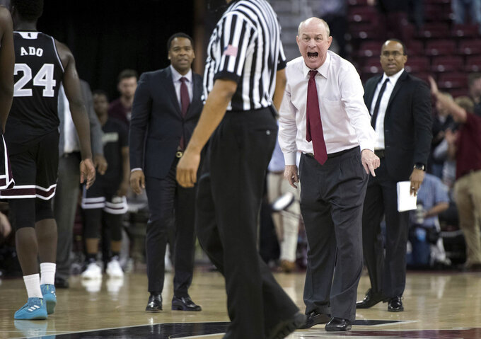 Mississippi State coach Ben Howland shouts at an official during the second half of the team's NCAA college basketball game against South Carolina on Tuesday, Jan. 8, 2019, in Columbia, S.C. South Carolina won 87-82. (AP Photo/Sean Rayford)