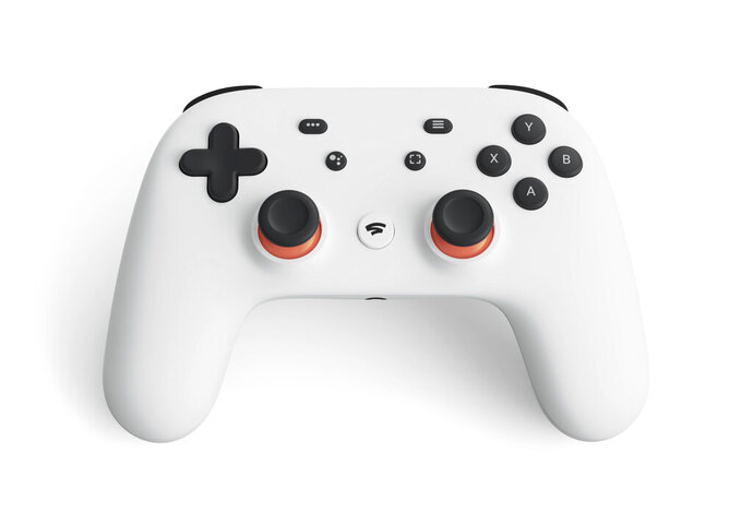 This undated photo provided by Google shows a controller that is part of a video-game streaming platform called Stadia that Google is launching on Tuesday, Nov. 19, 2019. The service is the first console-free gaming system. But experts say it has some growing to do before it becomes a true contender in the gaming arena. The platform will store a game-playing session in the cloud and lets players jump across devices operating on Google's Chrome browser and Chrome OS, such as Pixel phones and Chromebooks.  (Google via AP)