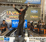 FILE - In this Aug. 15, 2019, file photo, Brett Moffitt celebrates in Victory Lane after winning the NASCAR Truck Series auto race at Bristol Motor Speedway in Bristol, Tenn. The NASCAR Truck Series has its championship race Friday, Nov. 15, 2019, at Homestead-Miami Speedway. Brett Moffitt, Matt Crafton and Stewart Friesen join Ross Chastain in the championship field. Moffitt is the defending series champion and will try to become the first repeat winner since Crafton in 2013 and 2014. (David Crigger/Bristol Herald Courier via AP, File)