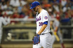 New York Mets relief pitcher Tylor Megill (38) reacts as he walks to the dugout during the first inning of a baseball game against the St. Louis Cardinals Wednesday, Sept. 15, 2021, in New York. (AP Photo/Frank Franklin II)