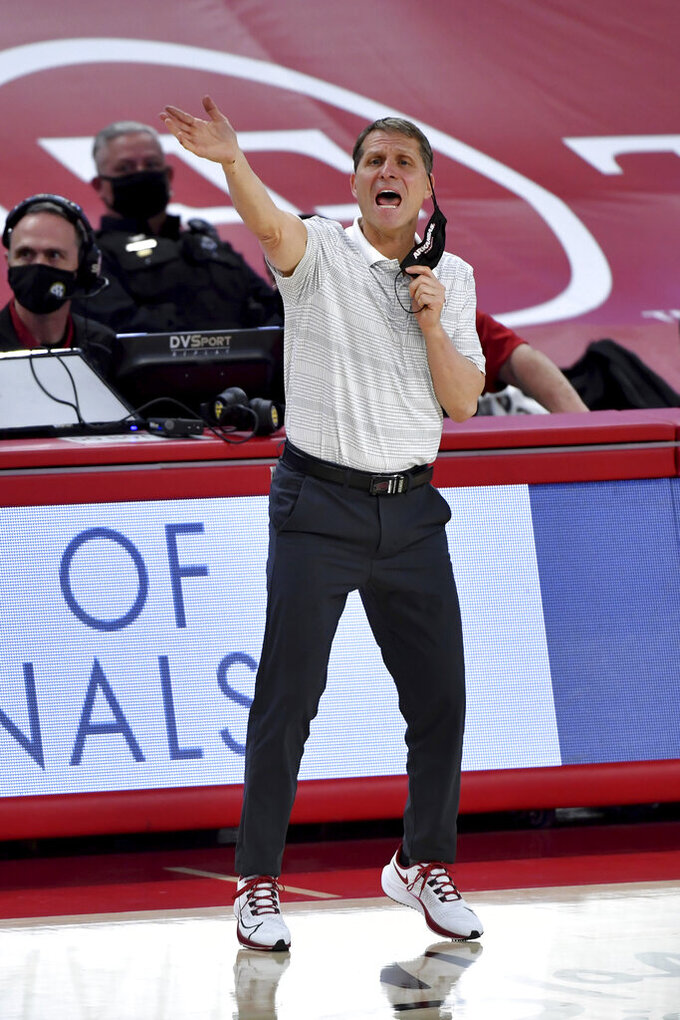 Arkansas coach Eric Musselman reacts after a play against Auburn during the second half of an NCAA college basketball game Wednesday, Jan. 20, 2021, in Fayetteville, Ark. (AP Photo/Michael Woods)