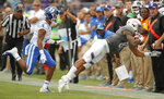 Northwestern's Ramaud Chiaokhiao-Bowman, right, makes a catch against Duke's Myles Hudzick during the second half of an NCAA college football game Saturday, Sept. 8, 2018, in Evanston, Ill. (AP Photo/Jim Young)