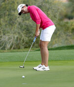 Carlota Ciganda putts for birdie on the 18th green during the third round of the Founders Cup LPGA golf tournament Saturday, March 23, 2019, in Phoenix. (AP Photo/Matt York)