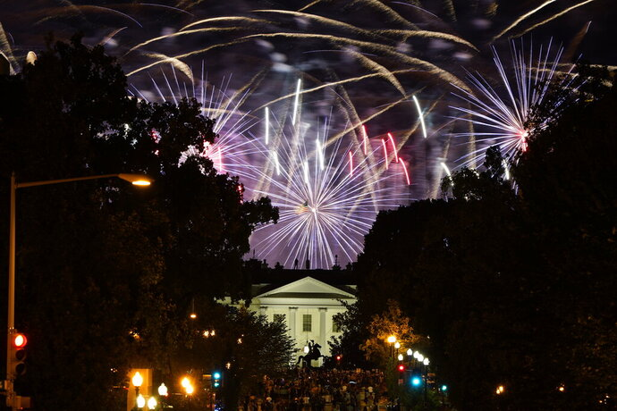 Fireworks light up the sky over Washington after President Donald Trump delivered his acceptance speech at the White House to the 2020 Republican National Convention, Thursday, Aug. 27, 2020. (AP Photo/J. Scott Applewhite)
