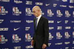 NBA Commissioner Adam Silver walks away from the podium after speaking at a news conference before an NBA preseason basketball game between the Houston Rockets and the Toronto Raptors Tuesday, Oct. 8, 2019, in Saitama, near Tokyo. (AP Photo/Jae C. Hong)