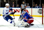 New York Rangers goalie Alexander Georgiev blocks a shot by Tampa Bay Lightning's Brayden Point during the first period of an NHL hockey game Wednesday, Feb. 27, 2019, at Madison Square Garden in New York. (AP Photo/Craig Ruttle)