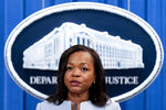 """FILE - In this Aug. 5, 2021 file photo, Assistant Attorney General for Civil Rights Kristen Clarke speaks at a news conference at the Department of Justice in Washington.  The U.S. Department of Justice on Tuesday announced a statewide civil rights investigation into Georgia prisons.  Clarke, who oversees the department's civil rights division, said the investigation will be comprehensive but will focus on """"harm to prisoners resulting from prisoner-on-prisoner violence.""""  (AP Photo/Andrew Harnik)"""