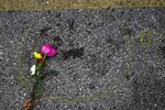 A flower is seen near some police evidence paint around some blood where a protester was shot Wednesday, Aug. 26, 2020, in Kenosha, Wis. (AP Photo/Morry Gash)