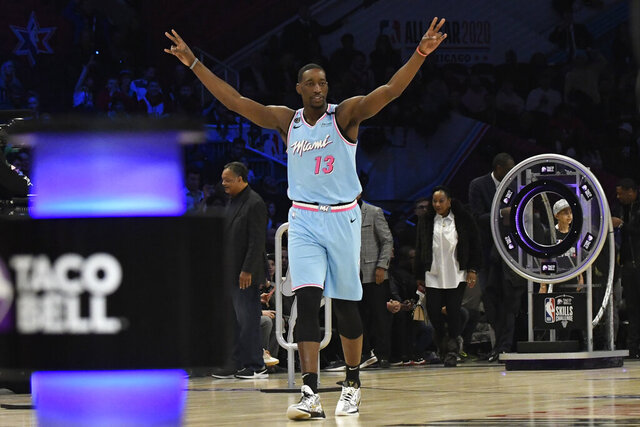 Miami Heat's Bam Adebayo celebrates after winning his heat in NBA basketball's All-Star skills challenge Saturday, Feb. 15, 2020, in Chicago. (AP Photo/David Banks)
