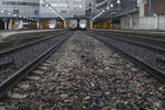 High-speed trains park at the Gare Montparnasse train station, Friday, Dec. 6, 2019 in Paris. Frustrated travelers are meeting transportation chaos around France for a second day, as unions dig in for what they hope is a protracted strike against government plans to redesign the national retirement system. (AP Photo/Thibault Camus)