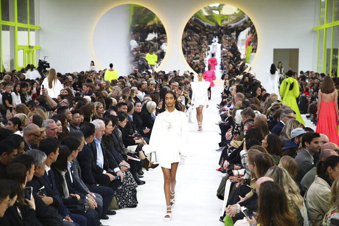 Models wear creations as part of the Valentino Ready To Wear Spring-Summer 2020 collection, unveiled during the fashion week, in Paris, Sunday, Sept. 29, 2019. (Photo by Vianney Le Caer/Invision/AP)