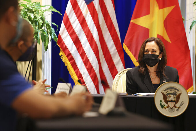 U.S. Vice President Kamala Harris meets with activists who work on LGBT, transgender, disability rights and climate change at the U.S. Chief of Mission's residence in Hanoi, Vietnam, Thursday, Aug. 26, 2021. (Evelyn Hockstein/Pool Photo via AP)