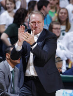 Michigan State coach Tom Izzo reacts during the second half of an NCAA college basketball game against Minnesota, Saturday, Feb. 9, 2019, in East Lansing, Mich. Michigan State won 79-55. (AP Photo/Al Goldis)