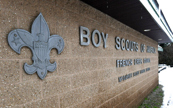 FILE - This Feb. 18, 2020, file photo shows the headquarters for the French Creek Council of the Boy Scouts of America in Summit Township in Erie County, Pa.  Attorneys recently reached a tentative agreement that could help pave the way for the Boy Scouts of America to exit bankruptcy.  A Delaware judge has set a Thursday, Aug. 12, 2021 hearing on a proposed $850 million agreement between the Boy Scouts and attorneys representing about 70,000 child sex abuse claimants. (Christopher Millette/Erie Times-News via AP, File)