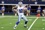 Dallas Cowboys quarterback Cooper Rush (10) throws a pass in the first half of a preseason NFL football game against the Jacksonville Jaguars in Arlington, Texas, Sunday, Aug. 29, 2021. (AP Photo/Michael Ainsworth)