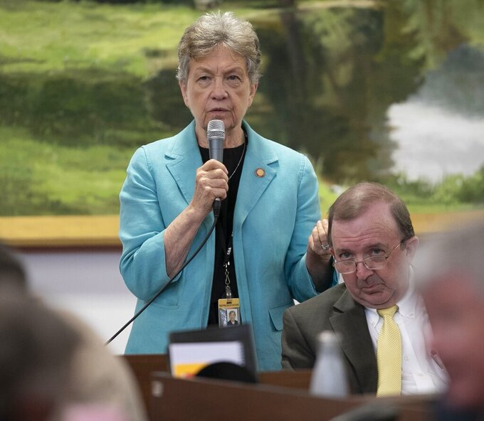 Rep. Verla Insko of Chapel Hill, N.C. speaks on the floor of the N.C. House Wednesday Sept. 11, 2019. Insko says she won't seek reelection next year. The 13-term Orange County Democrat made the announcement on Wednesday, Sept. 15, 2021. She is the longest-serving House Democrat currently in the chamber. (Robert Willett/The News & Observer via AP)