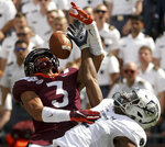 Virginia Tech defender Caleb Farley (3) breaks up a pass in the endzone intended for Old Dominion receiver Hassan Patterson (2) during the second half of an NCAA college football game  in Blacksburg Va,. Saturday, Sept. 7, 2019. (Matt Gentry/The Roanoke Times via AP)