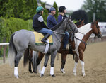 Exercise rider Joe Ramos, left, rides Tacitus during workouts at Belmont Park in Elmont, N.Y., Wednesday, June 5, 2019. The 151st Belmont Stakes horse race is scheduled for Saturday, June 8. (AP Photo/Seth Wenig)