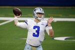 Dallas Cowboys quarterback Garrett Gilbert (3) throws a pass in the first half of an NFL football game against the Pittsburgh Steelers in Arlington, Texas, Sunday, Nov. 8, 2020. (AP Photo/Michael Ainsworth)