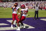 Iowa State running back Breece Hall (28) is congratulated by wide receiver Xavier Hutchinson (8) after scoring a touchdown during an NCAA football game against TCU on Saturday, Sept. 26, 2020 in Fort Worth, Texas. (AP Photo/Brandon Wade)