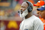 Illinois head coach Lovie Smith watches as his team plays against Minnesota in the third quarter of an NCAA college football game Saturday, Oct. 5, 2019, in Minneapolis. (AP Photo/Bruce Kluckhohn)