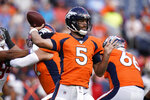 "FILE - In this Aug. 19, 2019, file photo, Denver Broncos quarterback Joe Flacco (5) throws a pass against the San Francisco 49ers during an NFL preseason football game in Denver. Flacco is the latest in a long line of quarterbacks Broncos GM John Elway has acquired since Peyton Manning's retirement in 2016. ""It's a hard position to fill,"" Elway said. ""We tried to shake all these trees around here the last four years and quarterbacks didn't fall out of it."" (AP Photo/Jack Dempsey, File)"