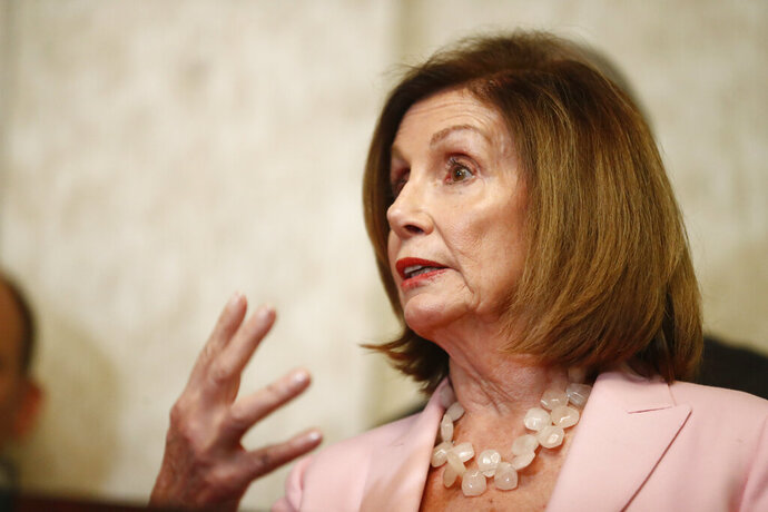 Speaker of the House Nancy Pelosi, D-Calif., speaks during a news conference and with local officials about Venezuelan democracy efforts on Thursday, Oct. 3, 2019, in Weston, Fla. (AP Photo/Brynn Anderson)